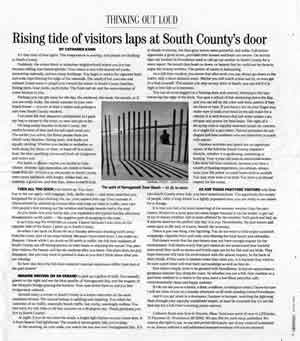 Article: Rising tide of visitors laps at South County's door
